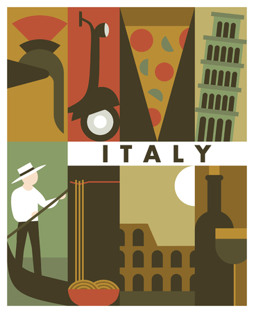 Vector Italy background, icon set