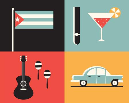 Vector flat illustration icon set of Cuba: flag, cigars, cocktails, guitar, maracas retro car