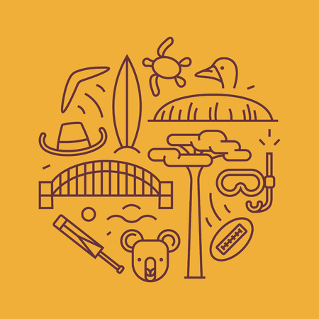 Australia, vector outline illustration, pattern. boomerang, hat, serf, bridge cricket koala tree Baobab sport mountain Uluru ostrich