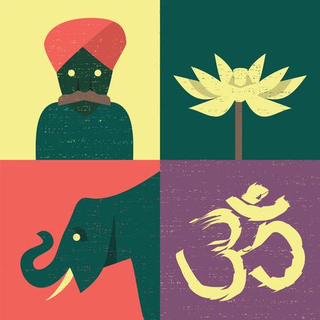 Vector illustration icon set of India: guru, flower, elephant, om