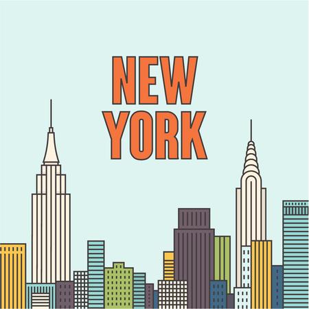 Vector New York background, citiscape, outline illustration Vettoriali