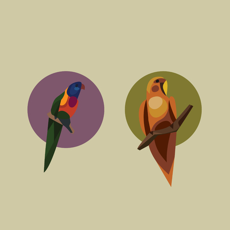 Vector illustration of parrot, icons