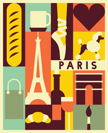 Vector Paris background, icon set