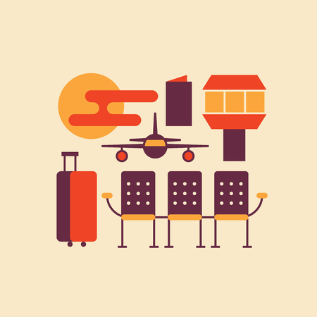 Vector flat illustration, icon set of airport