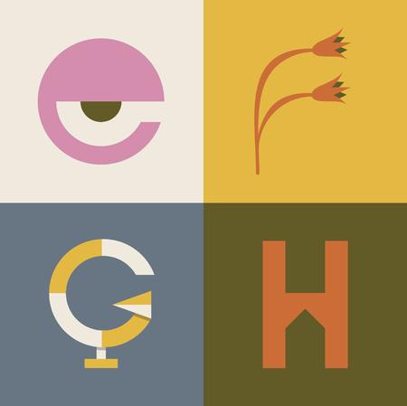 Vector illustration icon set of letter E, F, G, H