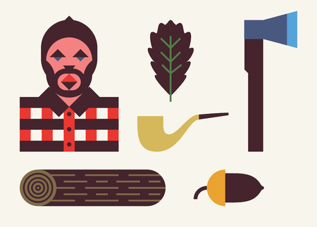 Woodcutter background, icon set