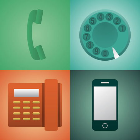 Vector flat illustration, icon set of phone: handset, vintage phone, telephone Stock Vector - 126734677
