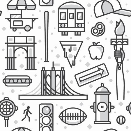 New York, vector outline background, seamless pattern: traffic light, Brooklyn Bridge, clock, hot dog, arc, shop, baseball, apple, pizza, train, arrow, rugby, hydrant
