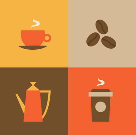 Vector illustration icon set of coffee: mug, coffee beans, kettle, coffee to go.