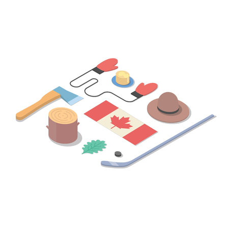 Country Canada, vector isometric flat concept illustration: hat, flag, hockey, tree, ax, mittens, food