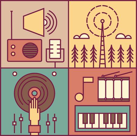 Radio, music outline illustration, icon set Vektorové ilustrace