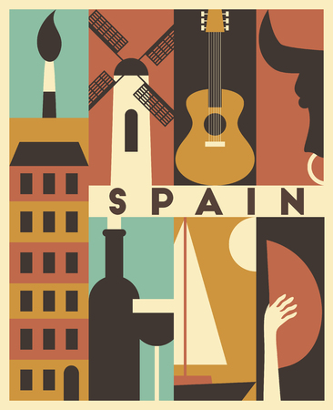 Vector Spain background, icon set