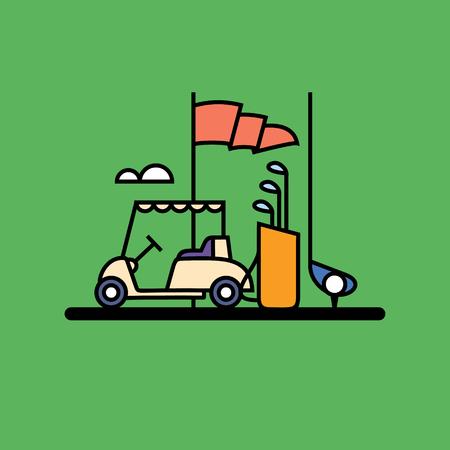 Vector illustration of golf, outline icon set