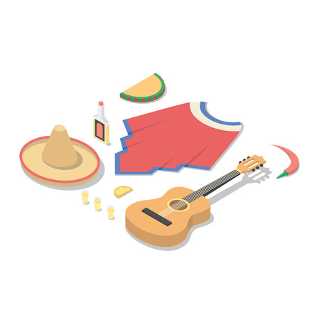 Mexico isometric concept vector illustration, 3d icon set Illustration