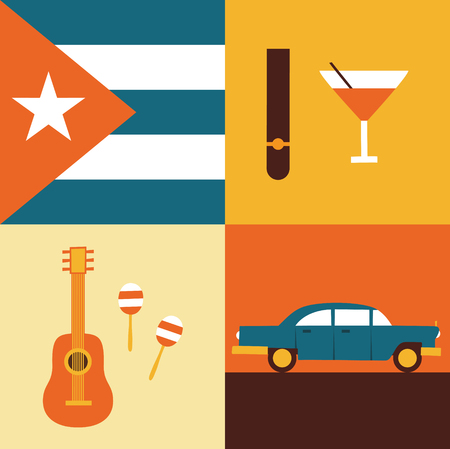 Vector flat illustration, icon set of Cuba: flag, cigars, cocktails, guitar maracas retro car