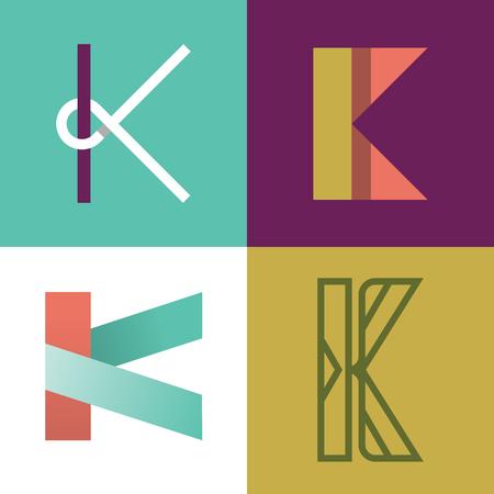 Vector illustration of letter K, icon set