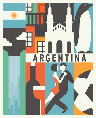 Vector Argentina background, icon set