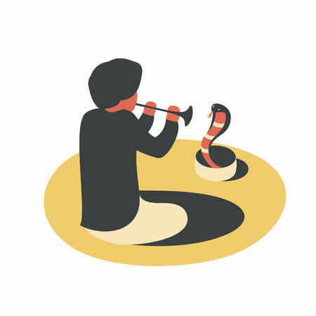 India, man playing the flute with snake cobra Illustration
