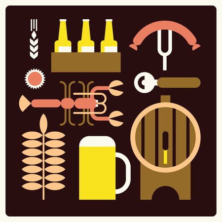 Vector beer background, icon set