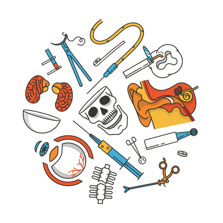 Medical icon set, outline vector illustration, white background. Ear, scissors, eye, injection, brain, skull, bone, wound, tooth, ointment, operation, scalpel, tablet, drop counter