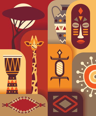 Africa jungle ethnic culture travel icons set.
