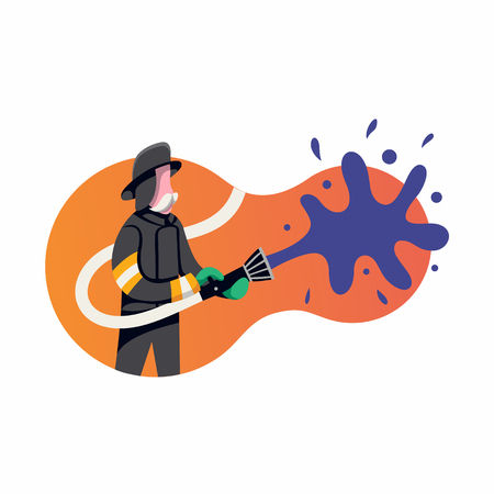 Firefighters battle a wildfire. Vector flat illustration, icon on white background. Illustration