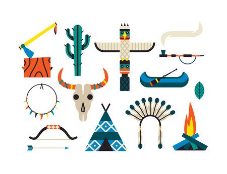 Native American Indian Set. Vector flat illustration, ethnic icon set, white background.