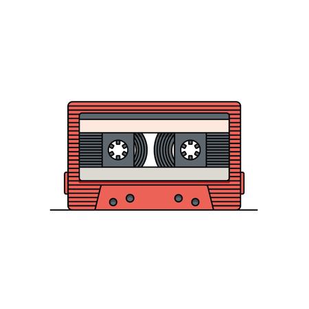 Cassette compacte à l'ancienne, illustration vectorielle à plat, icône de contour, fond blanc.