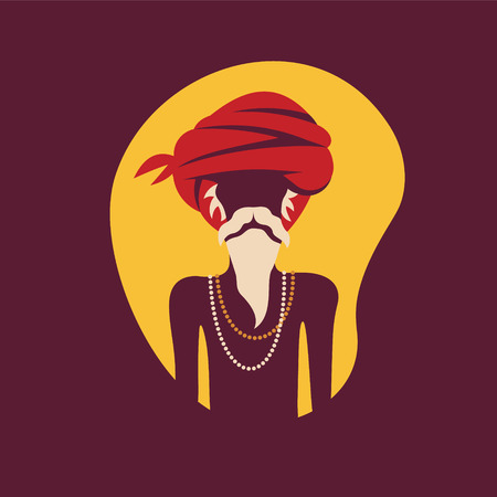 Indian old man in traditional clothes. Illustration