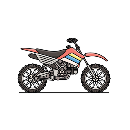 Ilustración aislada del icono de la moto de rally. Competencia extrema de motociclismo, campeonato de carreras de trofeos en carretera, motocross de estilo libre, motociclismo de velocidad.