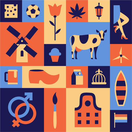 Netherlands, Amsterdam. Vector travel illustration, flat icon set, color background. Holland cheese, football, tulip, marijuana, prostitution, windmill, cow, beer, shoes, boat, flag, house, art brush