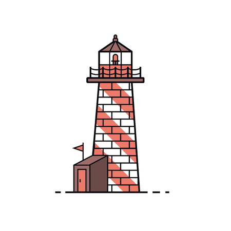 Lighthouse icon in flat design. Sea guide tower illustration.