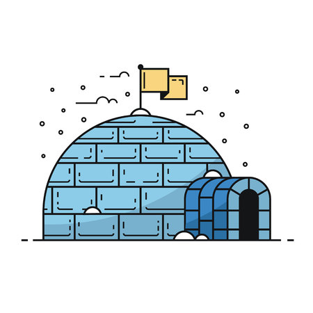 Traditional igloo by winter. Building with snowdrifts and icicles. Winter house illustration  in flat design. Illustration