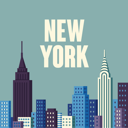 New York USA skyline and landmarks silhouette, illustration. Stock Illustratie