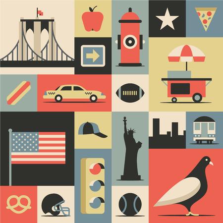 New York City flat illustration, icon set.
