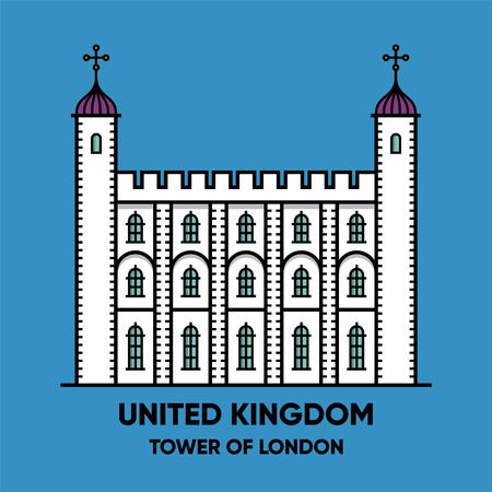 United Kingdom, Tower of London, travel illustration, flat icon, blue background