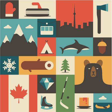 Canada flat illustration, icon set.