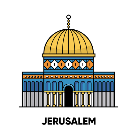 Mosque Dome of the Rock, travel illustration, flat icon, white background Illustration