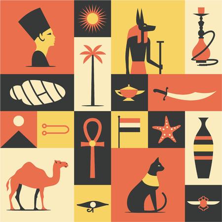 Egypt flat illustration, icon set, travel background pattern.