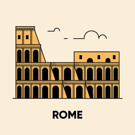 Italie, Rome, Colisée, illustration de voyage, icône plate. Vecteurs