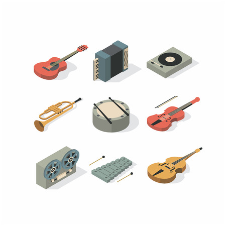 Music flat illustration, icon set, poster with musical instruments, white background.