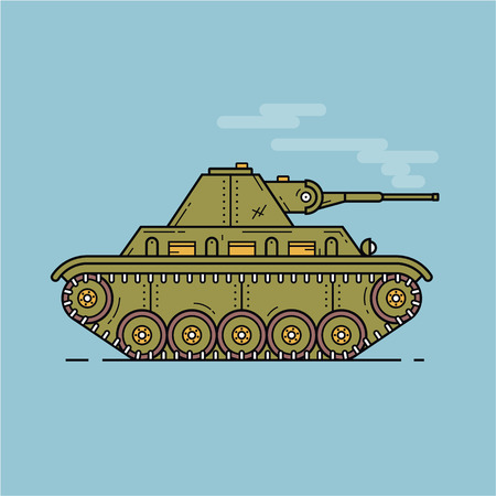 Green medium tank in profile flat illustration