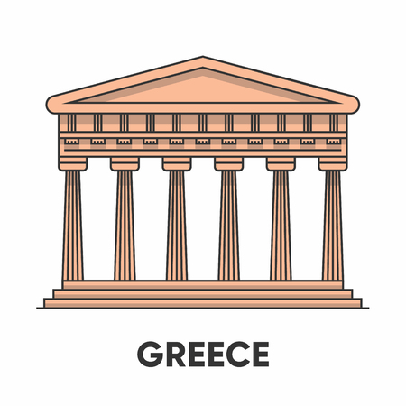 Greece, Temple of Apollo outline illustration, flat icon Illustration