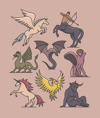 fantasy illustration Outline icon set.