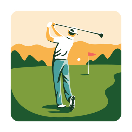 Vector illustration. Man playing golf on a golf course in the sun. Vektorové ilustrace