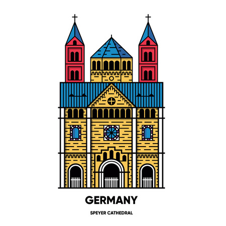 Germany, Speyer Cathedral, travel illustration, flat icon, outline style