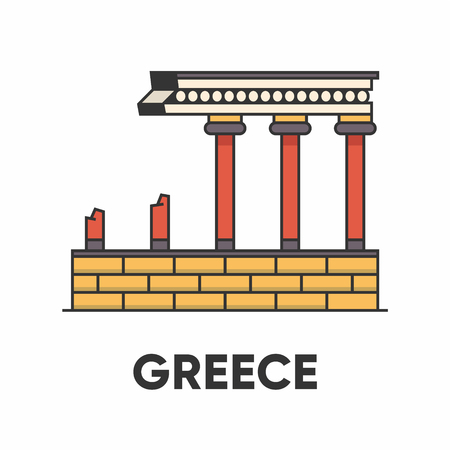 Greece, Knossos palace, labyrinth of King Minos, outline illustration, flat style