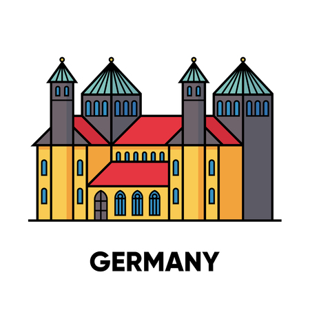 Germany, Hildesheim, St. Marys Cathedral and St. Michaels Church, travel illustration, flat icon Stock Illustratie
