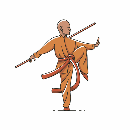 Qigong, Tai chi, vector outline illustration, white background. Illustration