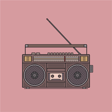 Old fashioned, retro style audio tape recorder, ghetto boom box from 90s, vector illustration isolated on pink background. Front view of audio tape recorder Illustration